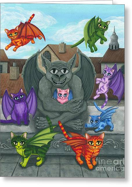 The Guardian Gargoyle Aka The Kitten Sitter Greeting Card by Carrie Hawks