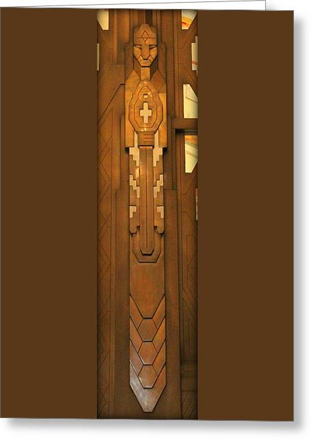 The Guardian Holding Sword - Detroit Greeting Card