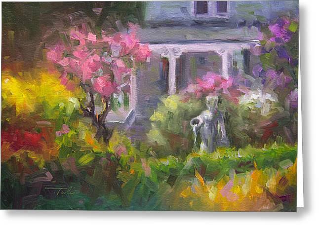 The Guardian - Plein Air Lilac Garden Greeting Card