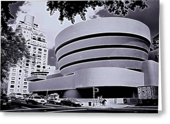 The Guggenheim Black And White Greeting Card by Allen Beatty