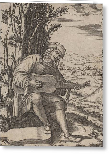 The Guitar Player Greeting Card by Marcantonio Raimondi