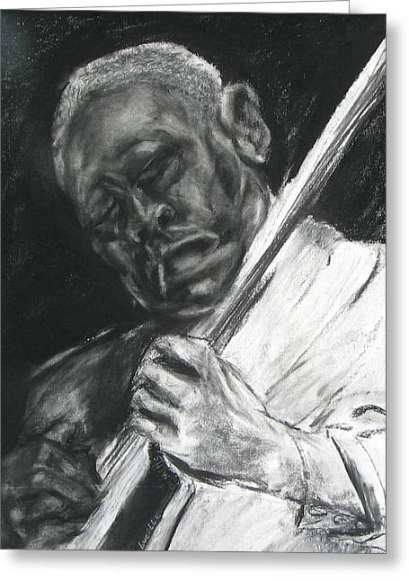 The Guitar Player Greeting Card by Patrick Mills