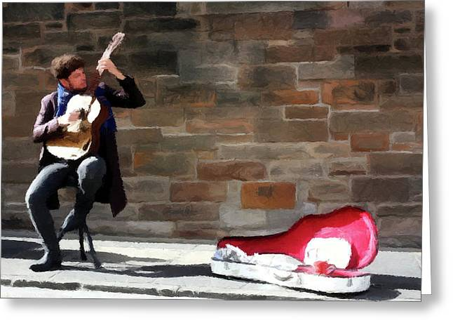 Greeting Card featuring the painting The Guitarist by David Dehner