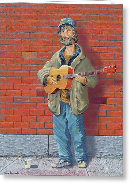 The Guitarist Greeting Card by Gary Giacomelli