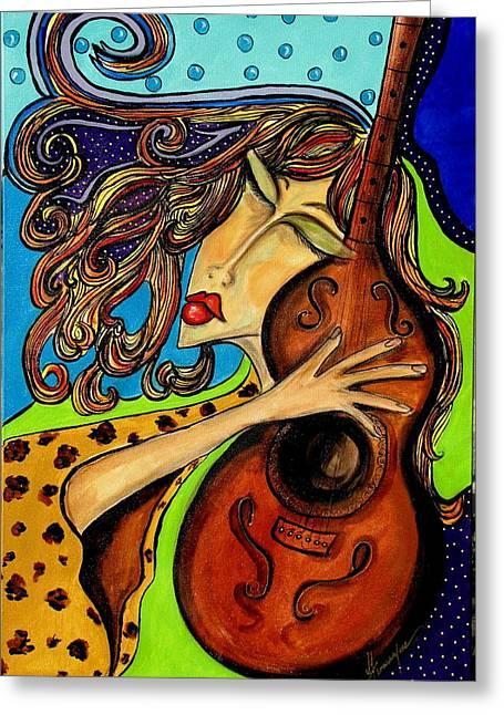 The Guitarist Greeting Card by Yvonne Feavearyear