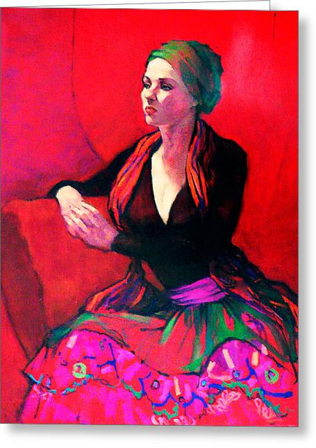The Gypsy Skirt Greeting Card by Roz McQuillan
