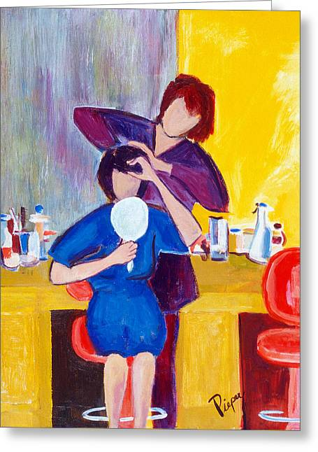 Greeting Card featuring the painting The Hair Dresser by Betty Pieper