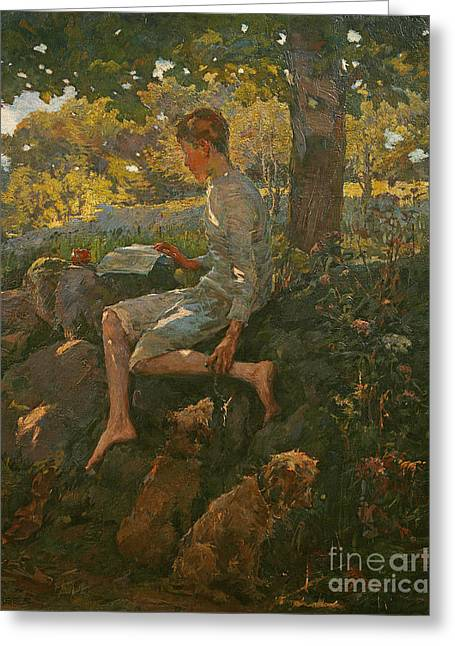The Half Holiday Greeting Card by Elizabeth Adela Stanhope Forbes