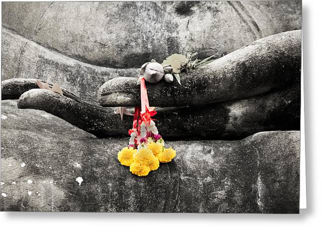 Greeting Card featuring the photograph The Hand Of Buddha by Adrian Evans