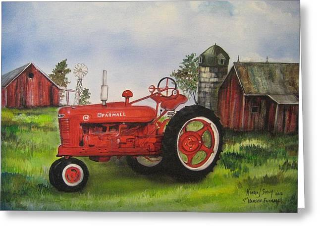 The Hansen Tractor Greeting Card by Kendra Sorum
