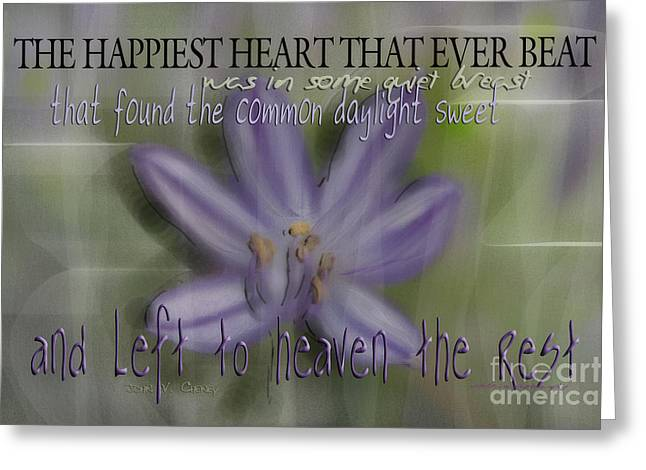 The Happiest Heart That Ever Beat Greeting Card by Vicki Ferrari