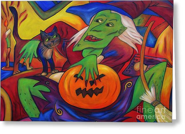 Greeting Card featuring the painting The Happy Witch Cat And Pumpkin by Dianne  Connolly
