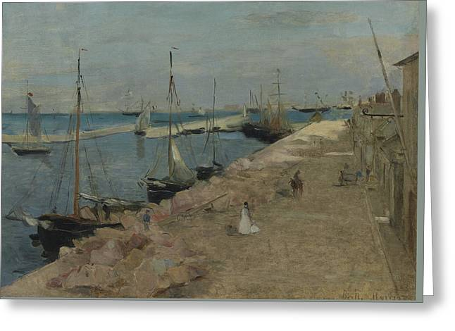 The Harbor At Cherbourg Greeting Card by Berthe Morisot