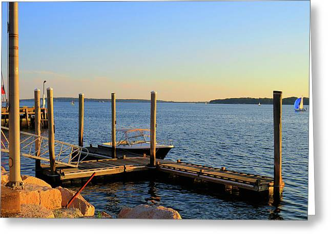 Greeting Card featuring the photograph The Harbor Bristol Rhode Island by Tom Prendergast