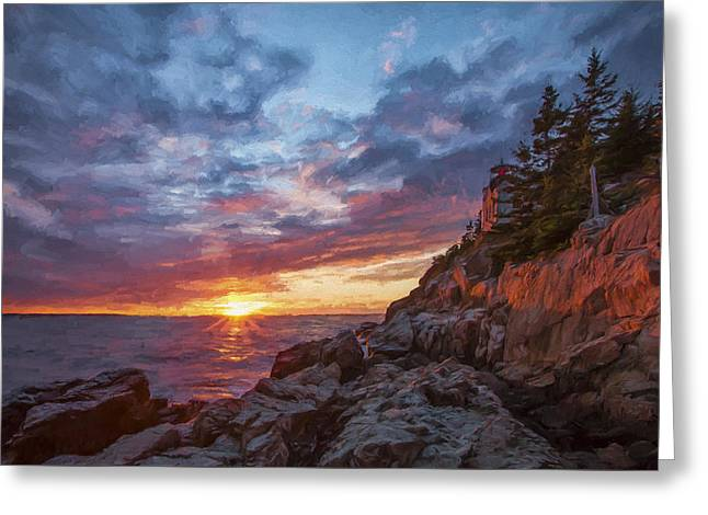 The Harbor Dusk  Iv Greeting Card by Jon Glaser