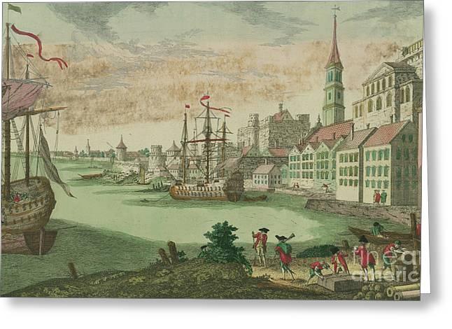 The Harbor In Boston, Massachusetts, 1770  Greeting Card