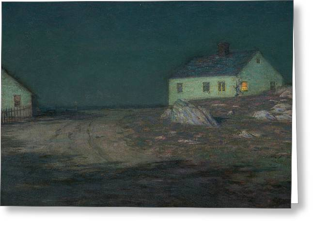 The Harbor Light Greeting Card by Lovell Birge Harrison