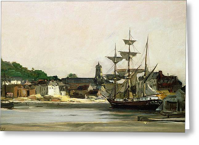 Boats At Dock Greeting Cards - The Harbour at Honfleur Greeting Card by Karl Pierre Daubigny