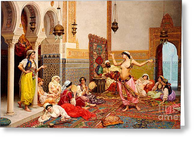 The Harem Dance Greeting Card by Giulio Rosati