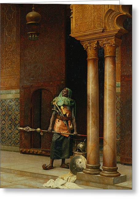 The Harem Guard  Greeting Card by Ludwig Deutsch