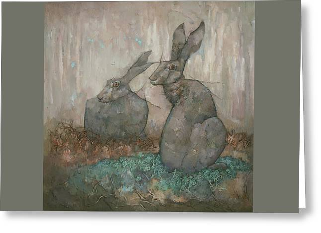 Greeting Card featuring the painting The Hare's Den by Steve Mitchell