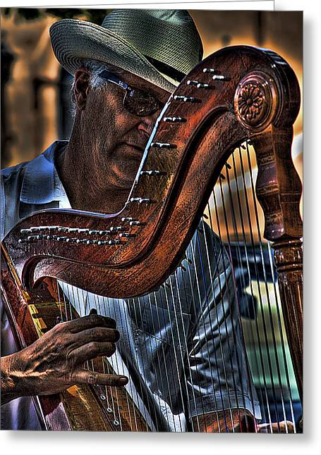 The Harp Player Greeting Card by David Patterson