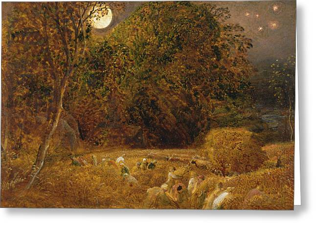 The Harvest Moon Greeting Card by Samuel Palmer