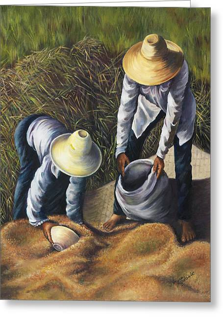 Harvest Time Paintings Greeting Cards - The Harvest Greeting Card by Myra Goldick
