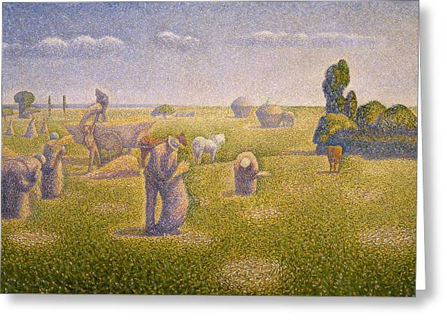 The Harvesters Greeting Card by Charles Angrand