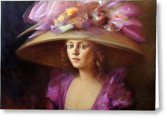 Victorian Greeting Cards - The Hat Greeting Card by Loretta Fasan