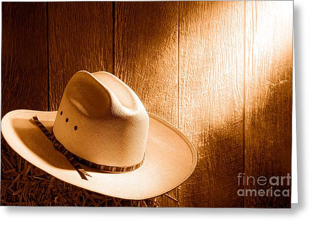 The Hat - Sepia Greeting Card by Olivier Le Queinec