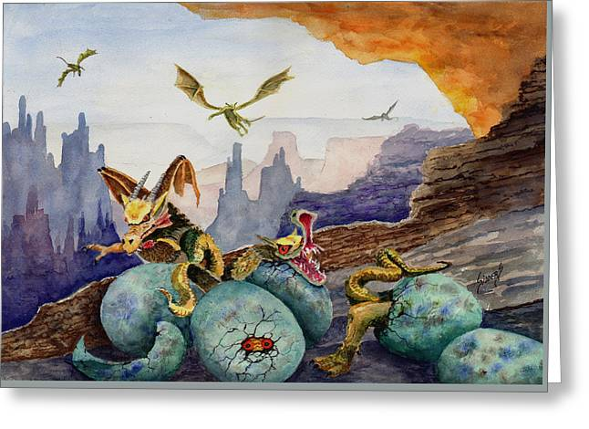 Greeting Card featuring the painting The Hatchlings by Sam Sidders