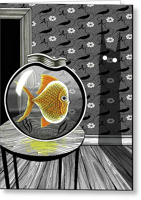 The Haunted Goldfish Bowl  Greeting Card by Andrew Hitchen