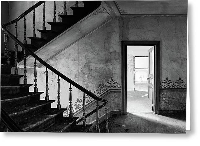 The Haunted House - Abandoned Buildings Bw Greeting Card by Dirk Ercken