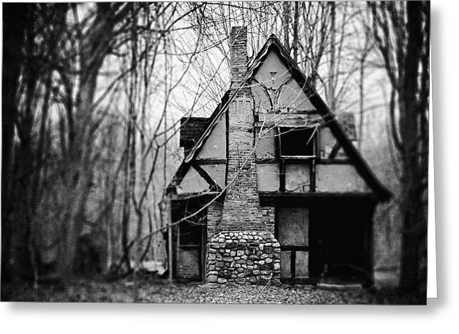 The Haunted Playhouse In Black And White Greeting Card