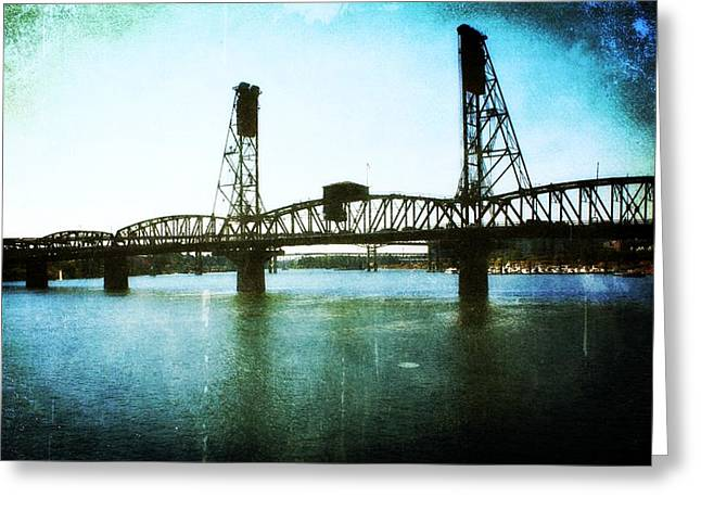 Urban Buildings Greeting Cards - The Hawthorne Bridge Greeting Card by Cathie Tyler