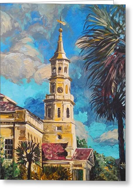 Greeting Card featuring the painting The Heart Of Charleston by Jennifer Hotai