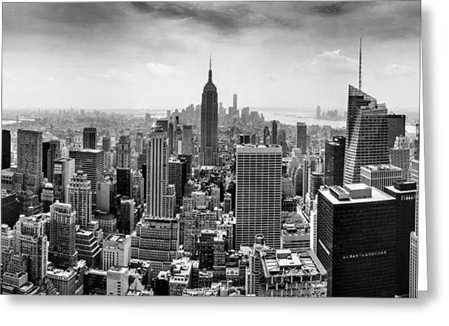 New York City Skyline Bw Greeting Card by Az Jackson