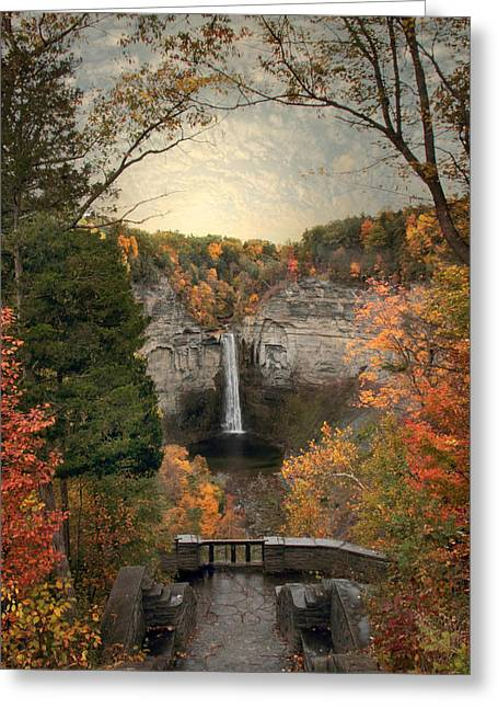Ithaca Greeting Cards - The Heart of Taughannock Greeting Card by Jessica Jenney