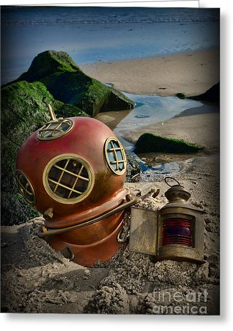 The Helmet And The Lantern Greeting Card by Paul Ward