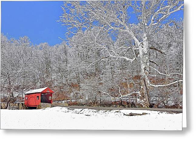 The Henry Bridge After A Late Winter Snow Greeting Card