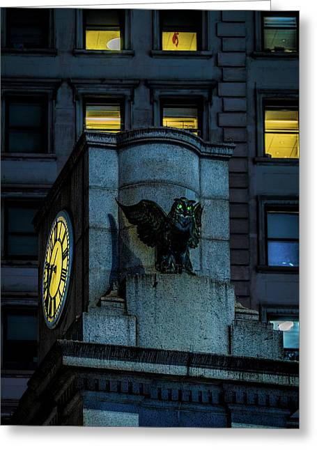 Greeting Card featuring the photograph The Herald Square Owl by Chris Lord