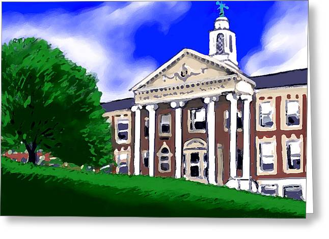 Greeting Card featuring the painting The Hill by Jean Pacheco Ravinski