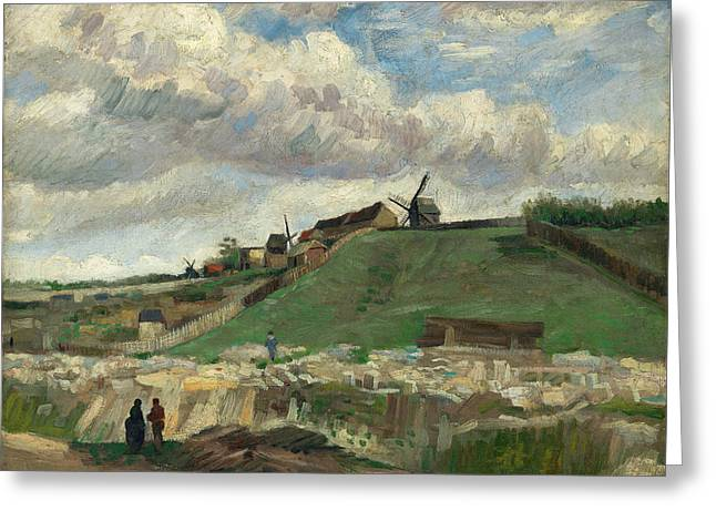 The Hill Of Montmartre With Stone Quarry And Windmills, 1886 01 Greeting Card by Vincent Van Gogh