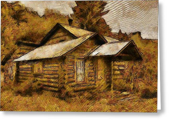 The Hillbilly Cabin Greeting Card by Mario Carini