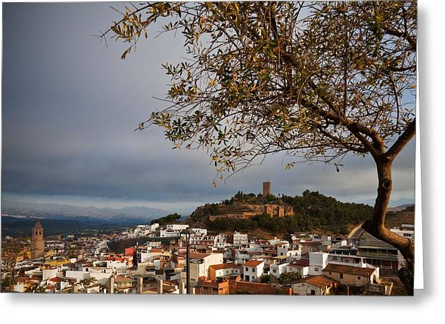 The Hilltop Castle And Town Of Valez Greeting Card by Panoramic Images