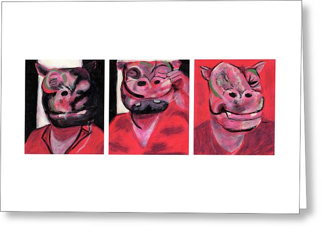 The Hippo Triptych Greeting Card by Bizarre Bunny