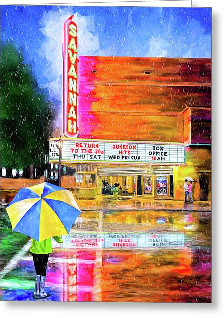 Greeting Card featuring the painting The Historic Savannah Theatre by Mark Tisdale