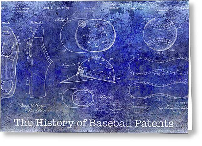 The History Of Baseball Patents Blue Greeting Card by Jon Neidert