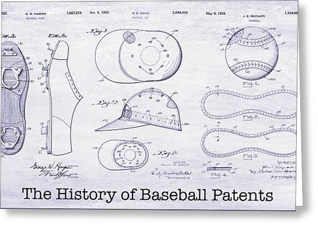 The History Of Baseball Patents Blueprint Greeting Card by Jon Neidert